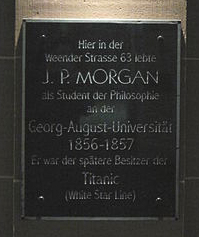 Gedenktafel an J. P. Morgan
