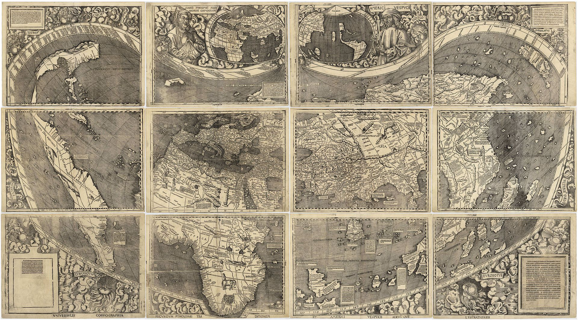 "artin Waldseemüller (1470-1520), ""Universalis Cosmographia"", Waldseemüller's 1507 world map which was the first to show the Americas"